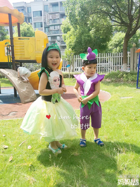 为幼儿园的女儿设计制作环保服装并亲子秀