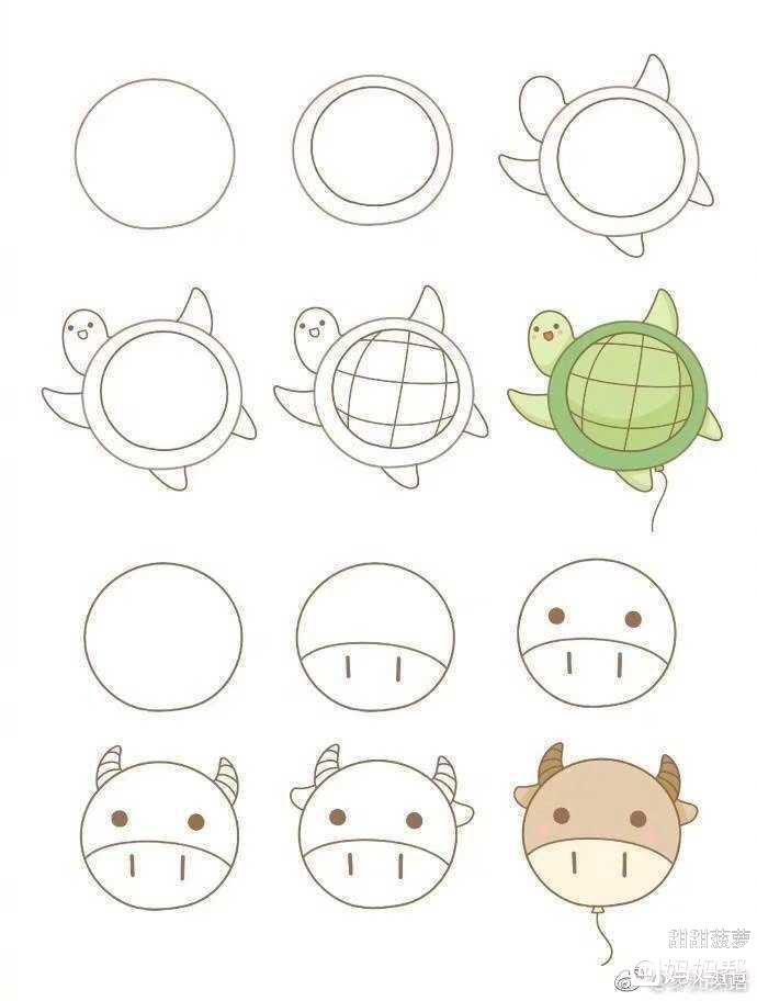 【随手分享】 从一个圆圈变成的各种圆滚滚的小动物超有趣的简笔画,哄