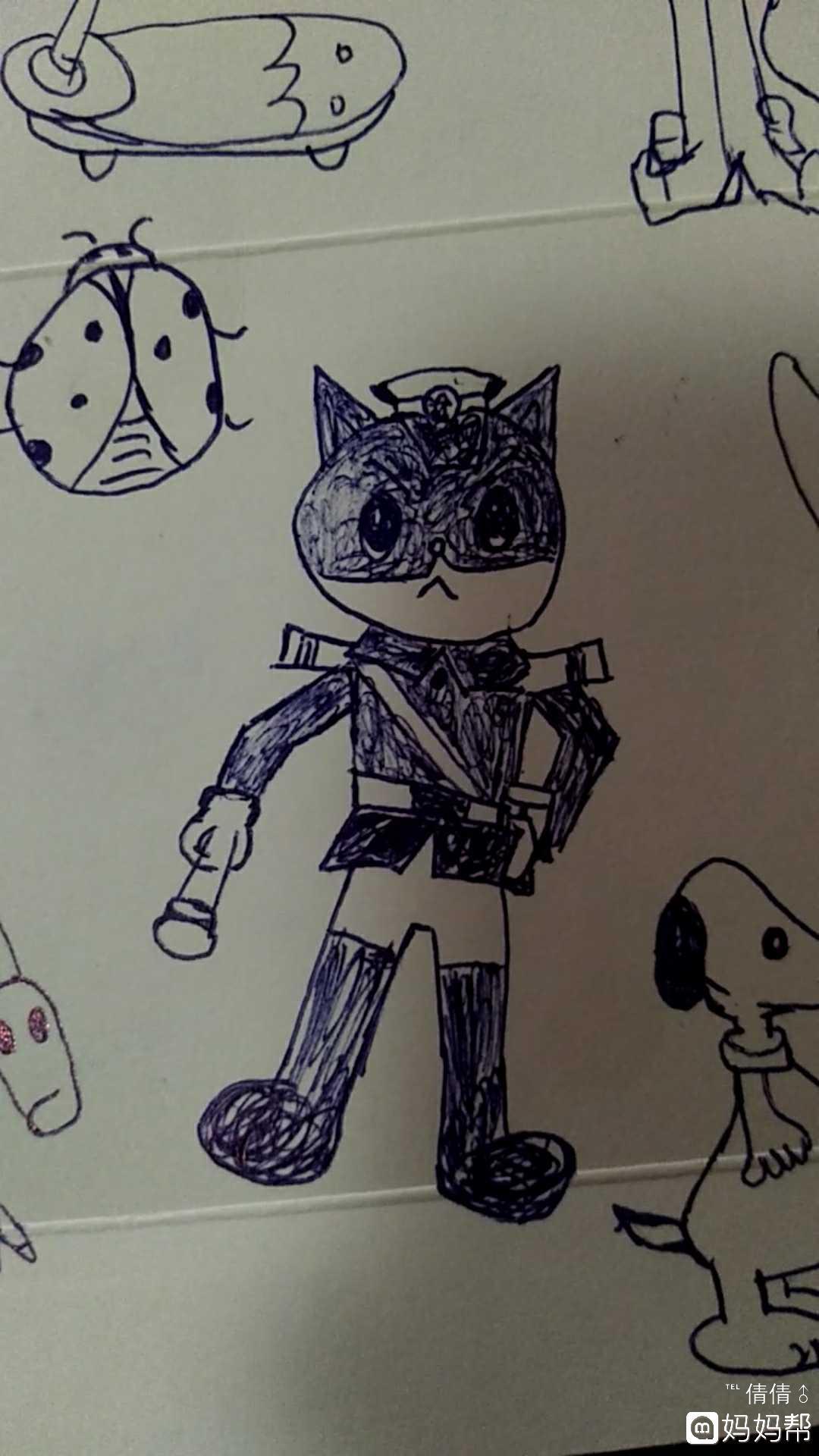 在抖音学的简笔画,除了黑猫警长不是