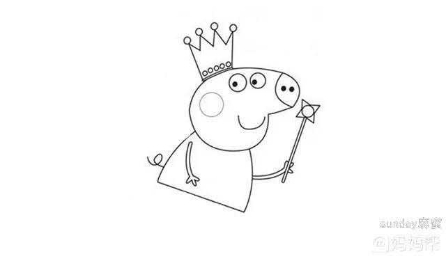 小猪佩奇简笔画 我有魔法棒,我先变身喽
