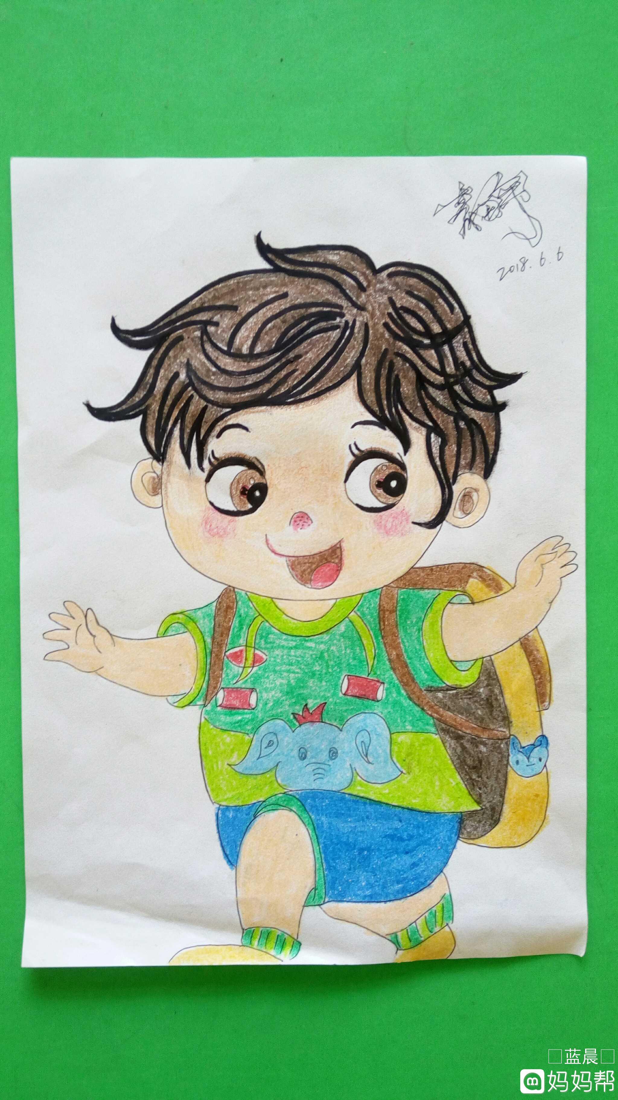 小男孩简笔画彩色可爱