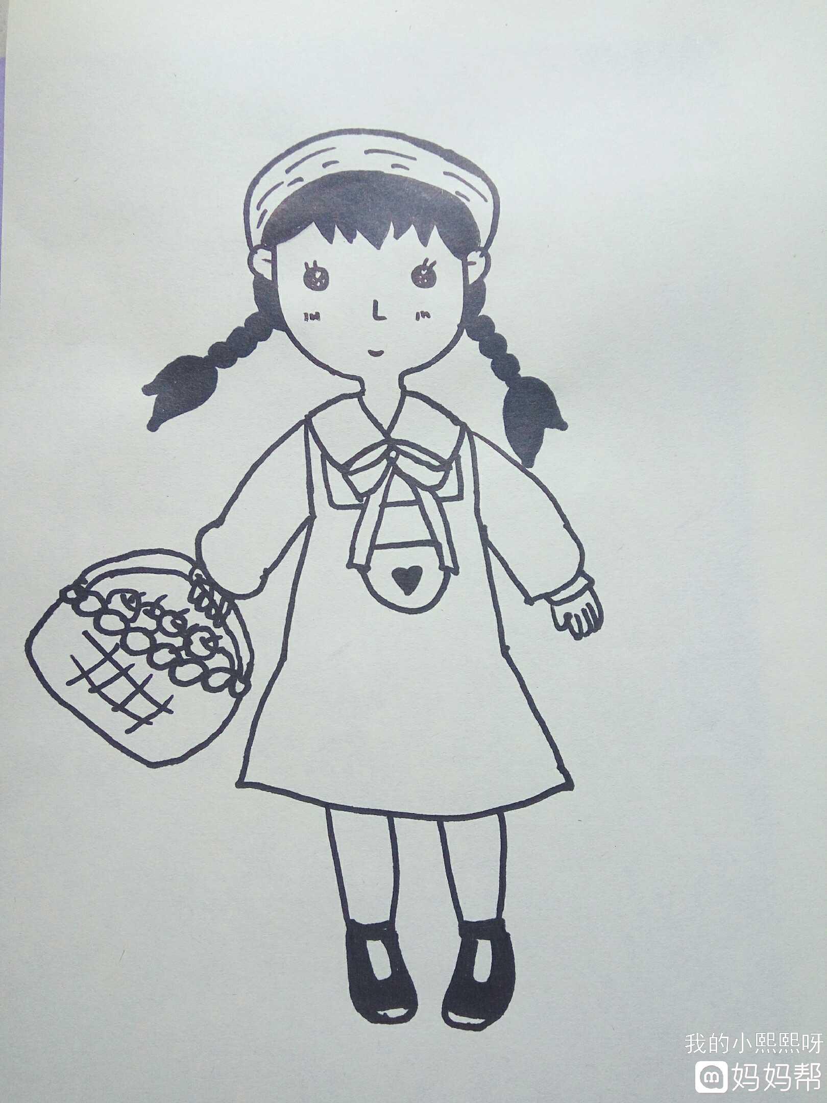 黑色的小筐鞋,简单大方.  一幅小女孩就完成了,是不是很简单呢!