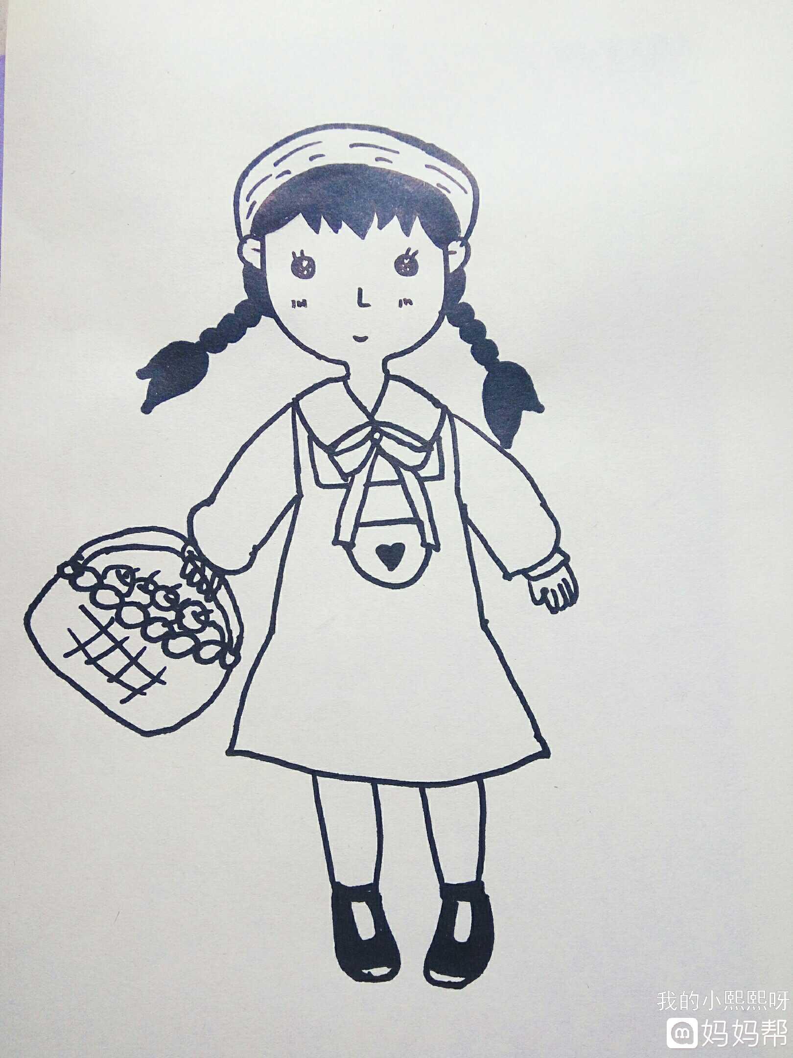同趣style#简笔画——提水果篮的小女孩