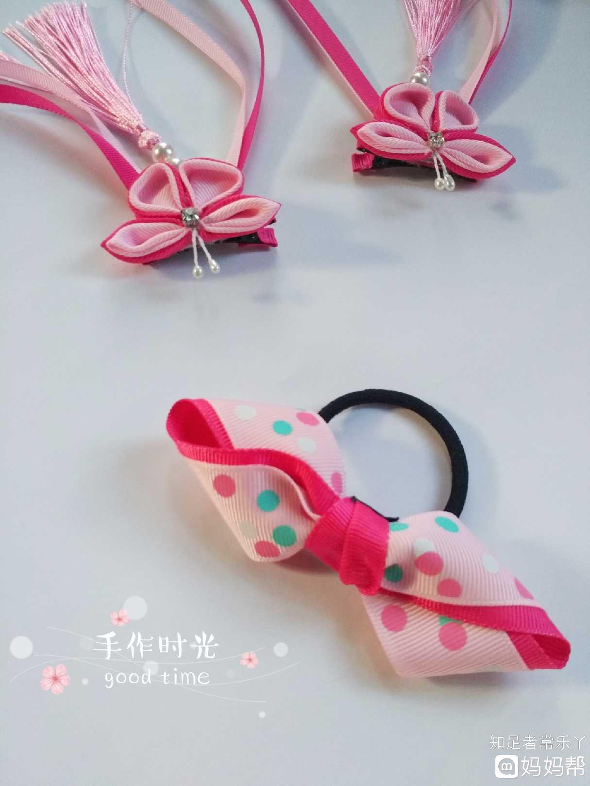 手工日记# 双层扭8字蝴蝶结发饰.