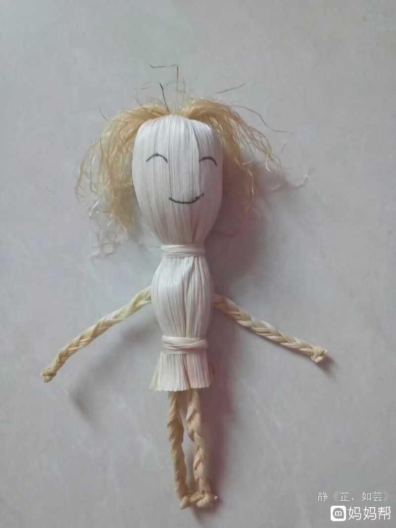 手工日记#玉米皮制作的小娃娃 玉米棒