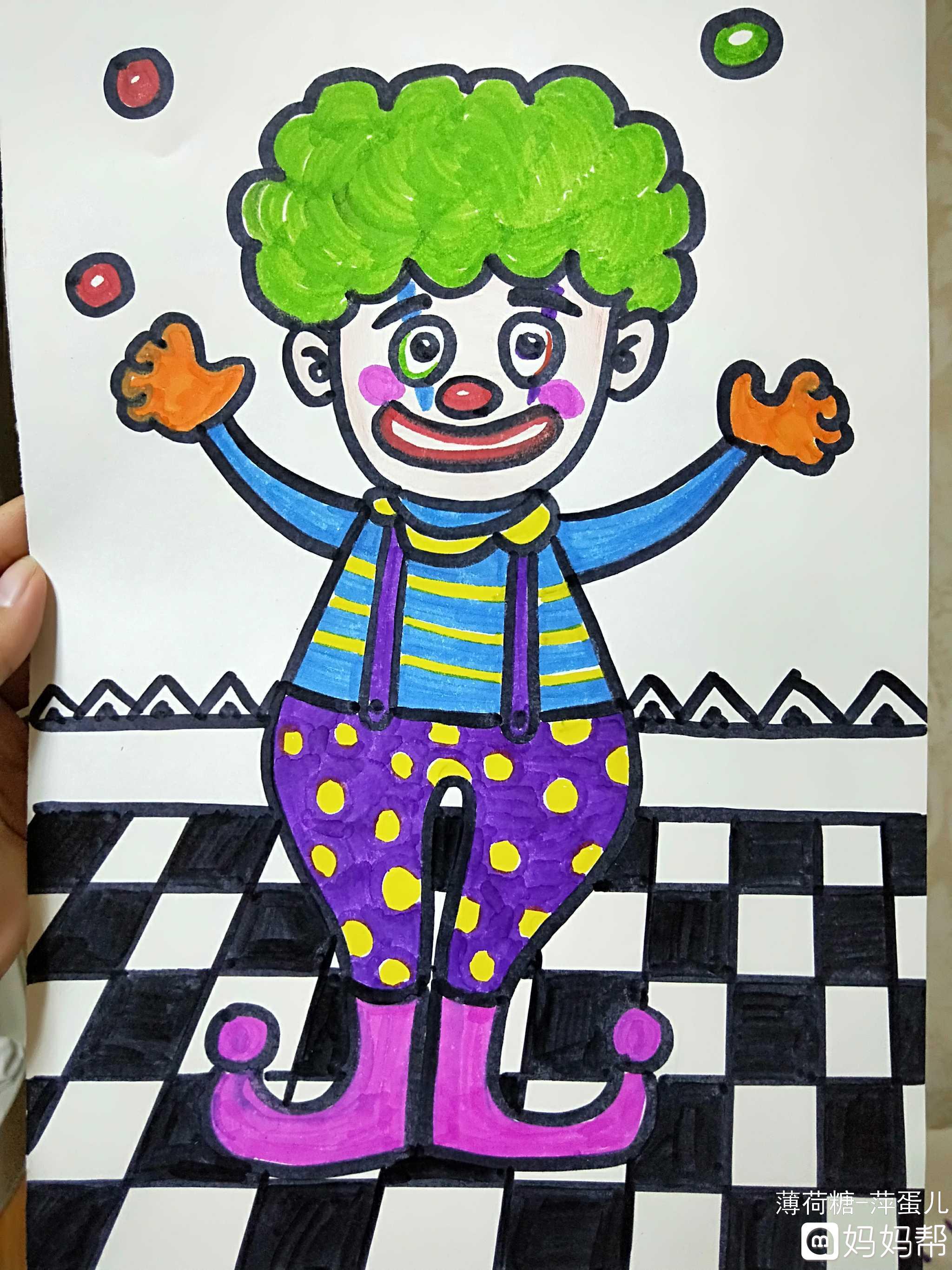 进来教你……儿童手工画【小丑】