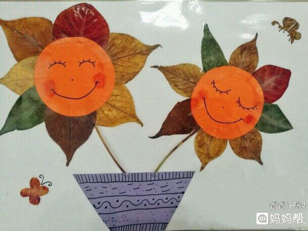 [树叶手工]树叶向日葵
