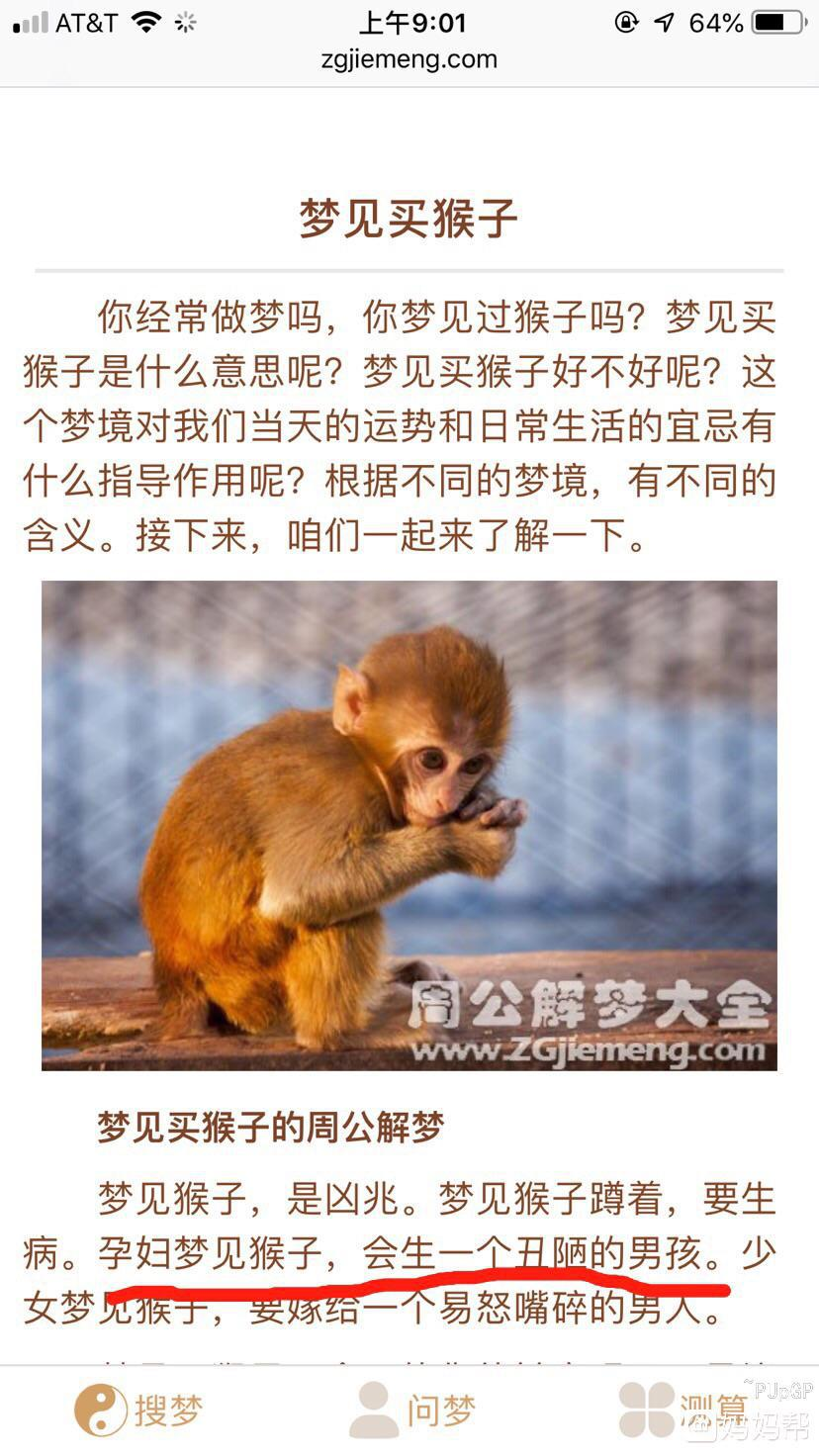 胎梦梦见猴子
