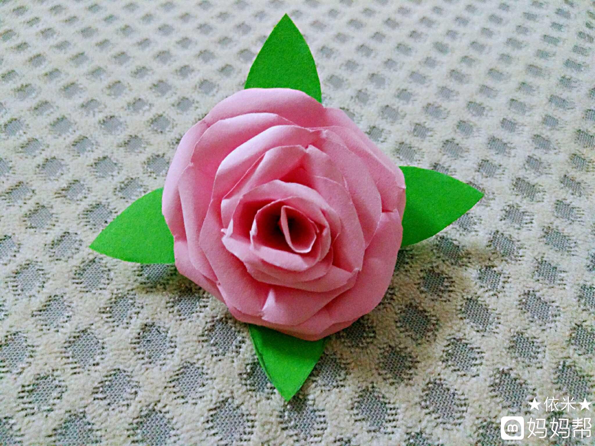 7.用胶棒把叶子和花朵粘合起来一朵漂亮的小花就做好了.图片