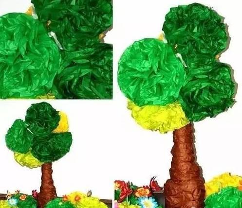 用颜料在画纸上画出树的形状,揉一团彩纸,贴在树枝上,  半立体的手工