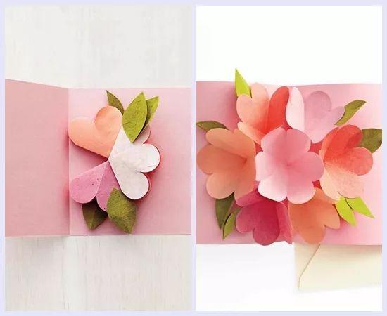 可以制作这款心形立体花朵贺卡哦~  制作步骤:用红色或粉色纸板剪出