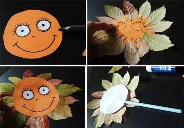 再用黑色签字笔画出眼睛,嘴巴,在圆形卡纸四周贴上一圈树叶