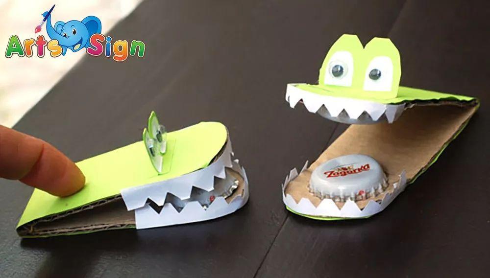 用纸盒做动物牙齿