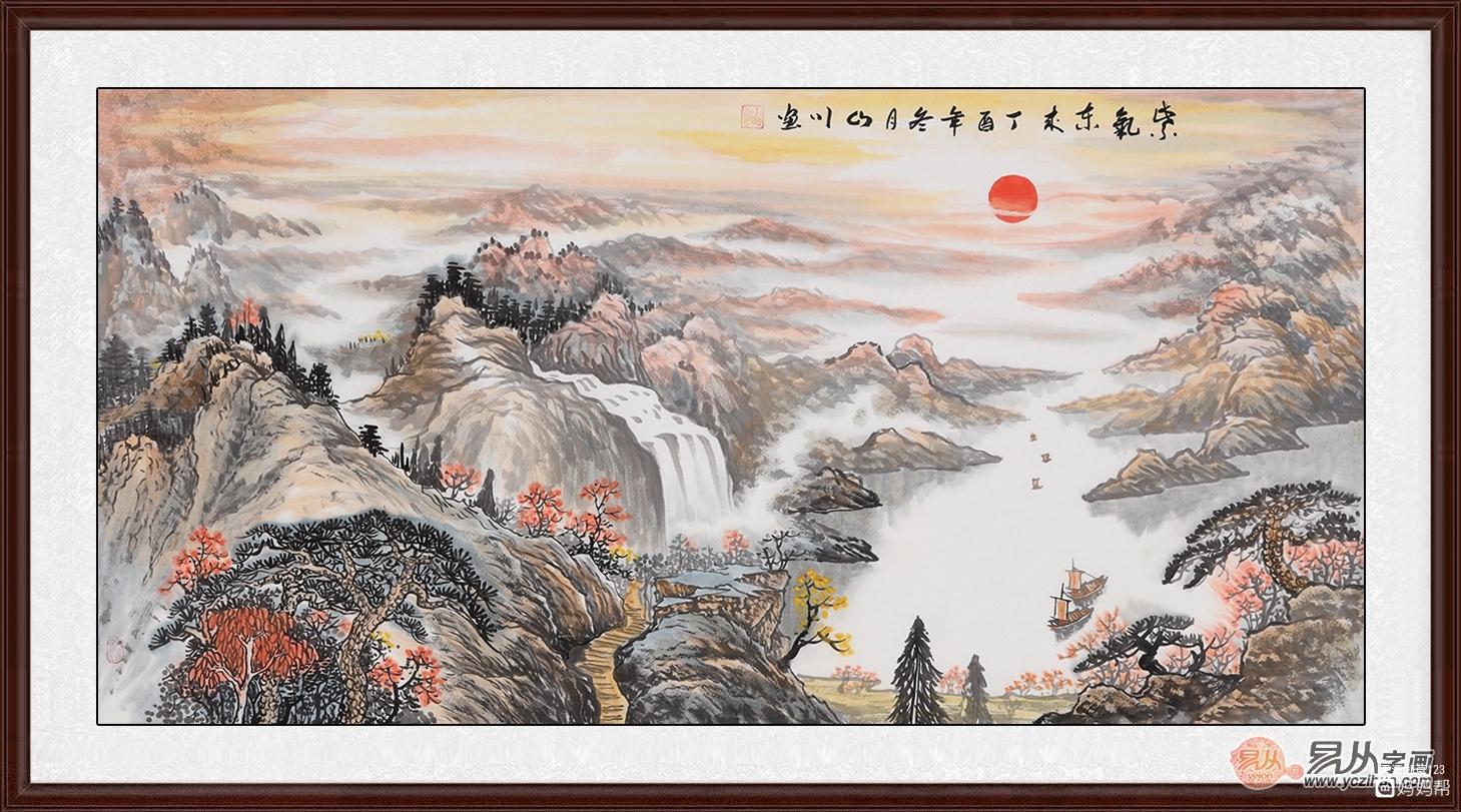 山川先生的这幅《紫气东来》,如同一坛尘封已久的美酒佳酿,韵味绵延而
