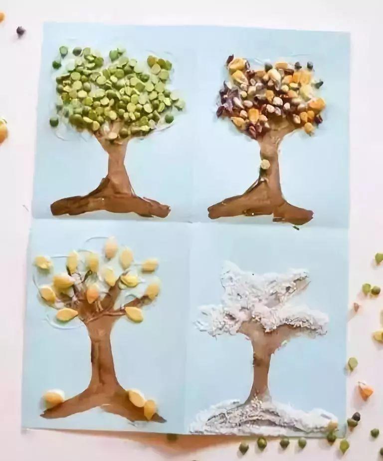 准备材料:废旧拼图,颜料,牛皮纸  制作步骤:用硬纸板粘上颜料做树干